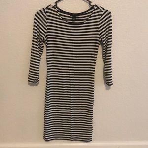 Mini stripped black and white dress